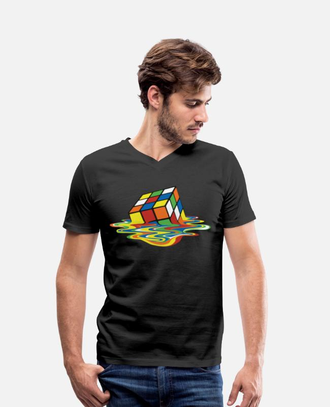 Speedcubing T-shirts - Rubik's Cube Melted Colourful Puddle - Mannen V-hals bio T-shirt zwart