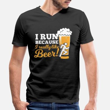 Munich Beer Oktoberfest run drinking leather pants - Men's Organic V-Neck T-Shirt