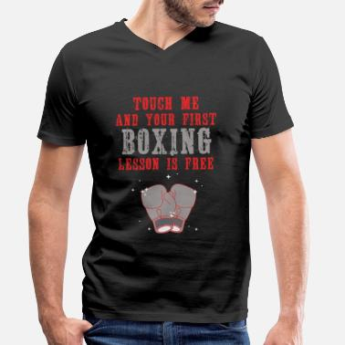 Funny Touch Me Free Boxing Lesson - Men's Organic V-Neck T-Shirt