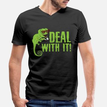 Frog Cute Deal With It Smoking Lizard Owners gift - Men's Organic V-Neck T-Shirt
