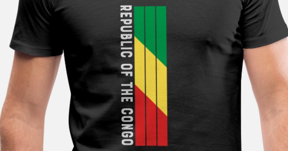 Kongo landets farge i striper T skjorte med V hals for menn