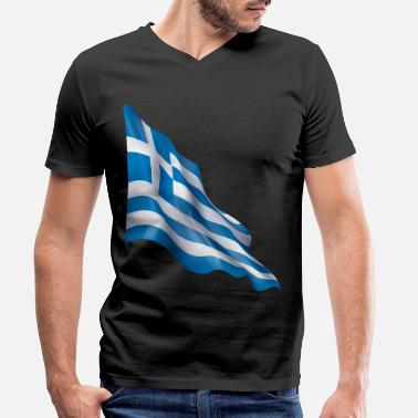 Greece flag - Men's Organic V-Neck T-Shirt