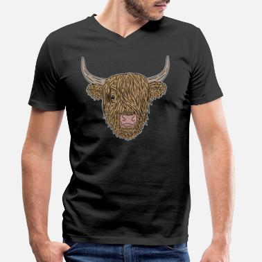 Scottish Highland Beef Cow Scottish Highland Cattle Highland Cattle - Men's Organic V-Neck T-Shirt