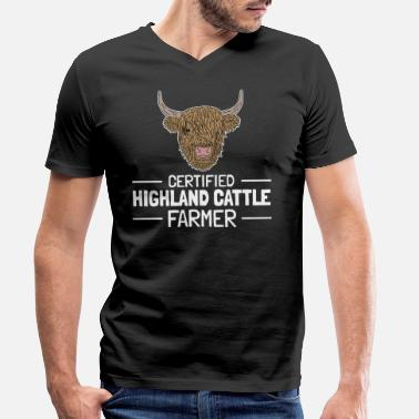 Highland Cow Highland Cattle Highland Top farmer saying - Men's Organic V-Neck T-Shirt by Stanley & Stella