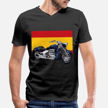 Bainderas Motorcycle flag Spain - Men's Organic V-Neck T-Shirt