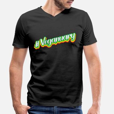 Veganuary #Veganuary - Men's Organic V-Neck T-Shirt
