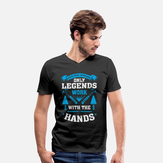 Hammer T-Shirts - Construction workers only legends work with their hands - Men's Organic V-Neck T-Shirt black