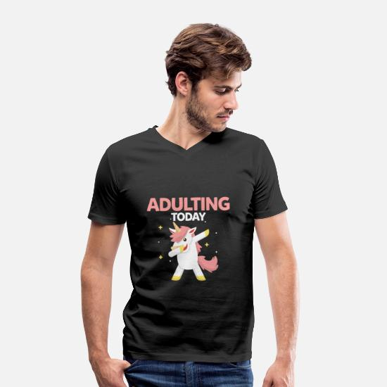 Gift Idea T-Shirts - Dubbing unicorn - Men's Organic V-Neck T-Shirt black