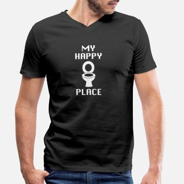 Sanitary Toilet Toilet Toilet Sanitary Happy - Men's Organic V-Neck T-Shirt