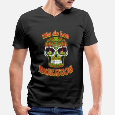 Day Of The Dead Sugar Skull - Day of the Dead - T-shirt med V-ringning herr