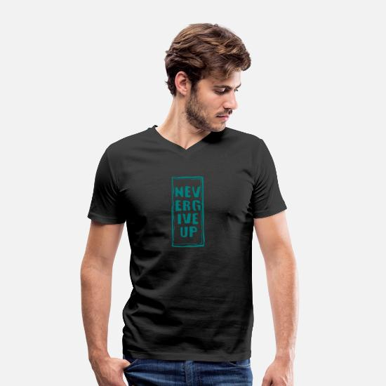 Duelo Camisetas - never give up - Camiseta con cuello de pico hombre negro