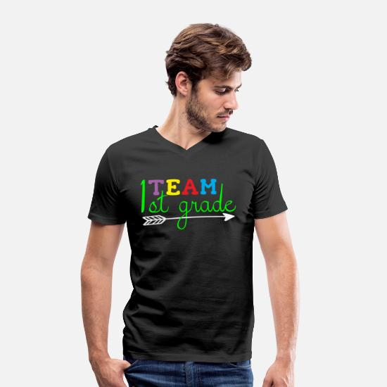 Back To School T-Shirts - 1st Class - Men's Organic V-Neck T-Shirt black