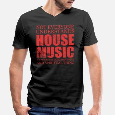 Old Skool House Music Music Song Sound Gift Pop Rock Techno House Note - Men's Organic V-Neck T-Shirt by Stanley & Stella