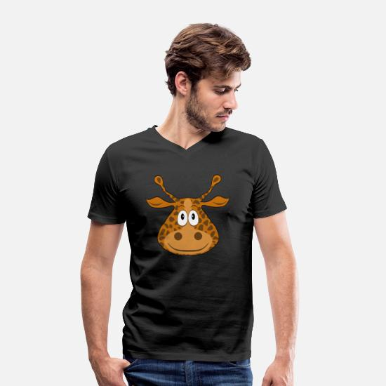 Journey T-Shirts - Funny cute cartoon cartoon giraffe - Men's Organic V-Neck T-Shirt black