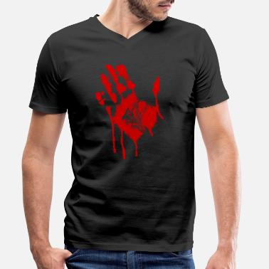Halloween Blood Blood Hand Halloween Costume - Men's Organic V-Neck T-Shirt