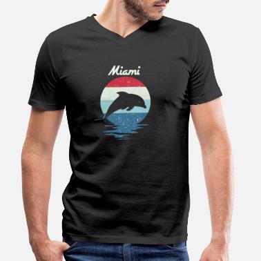 Miami Dolphins Distressed Vintage Miami Beach Dolphin Summer - Men's Organic V-Neck T-Shirt