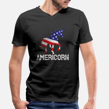 America Unicorn America USA Americorn US Gift - Men's Organic V-Neck T-Shirt
