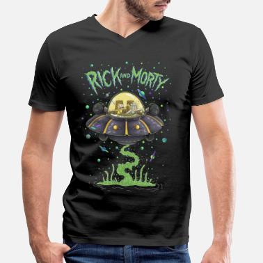 Graphic Rick And Morty Spaceship Illustration - Men's Organic V-Neck T-Shirt