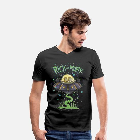 cool T-Shirts - Rick And Morty Spaceship Illustration - Men's Organic V-Neck T-Shirt black