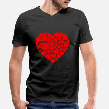 Grafisk Heart Hearts Love Valentines Day Relationship Gift - T-skjorte med V-hals for menn