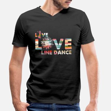 Dancer Live Love Line Dance Cowboy Country Music Gift - Men's Organic V-Neck T-Shirt