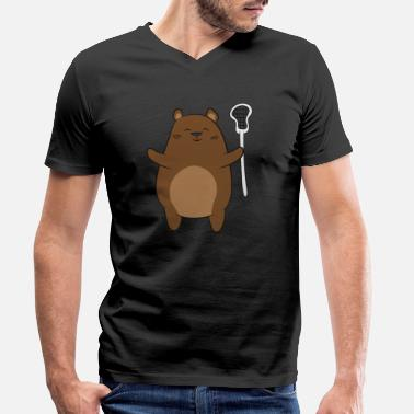 Usa LAX Dad Bear Lacrosse Gift - Men's Organic V-Neck T-Shirt