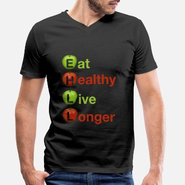 Healthy Eat Healthy Live Longer Healthy Apple 2 - Men's Organic V-Neck T-Shirt