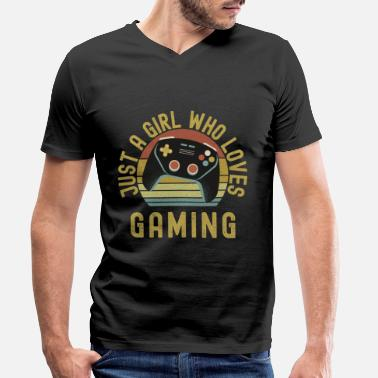 Pause Just A Girl Who Loves Gaming - Men's Organic V-Neck T-Shirt
