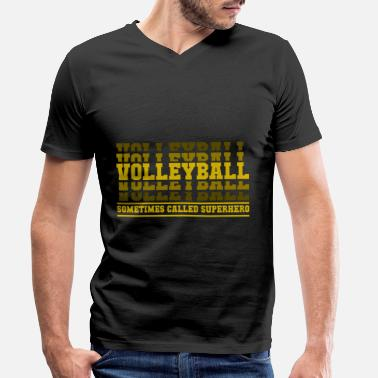Beachvolleyball Volleybal superheld cadeau - Mannen V-hals bio T-shirt