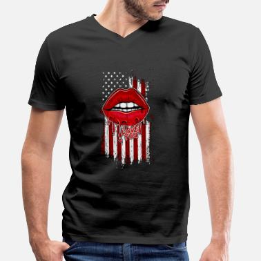 Usa USA flag sexy lips independence day - Men's Organic V-Neck T-Shirt
