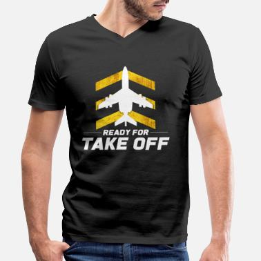 Despegue Despegue de avion - Camiseta con cuello de pico hombre