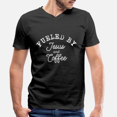 By Fueled by Jesus and Coffee - T-skjorte med V-hals for menn