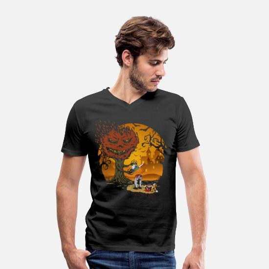 Chain Saw T-Shirts - Tree chainsaw - Men's Organic V-Neck T-Shirt black
