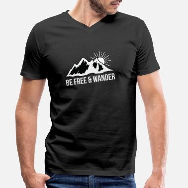 Hike Sun Be Free & Hiking Mountain Sun Hiking Outdoor Summit - Men's Organic V-Neck T-Shirt by Stanley & Stella