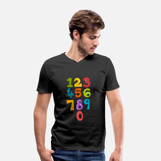 Birthday T-Shirts - First grader schooling Funny numbers - Men's Organic V-Neck T-Shirt black