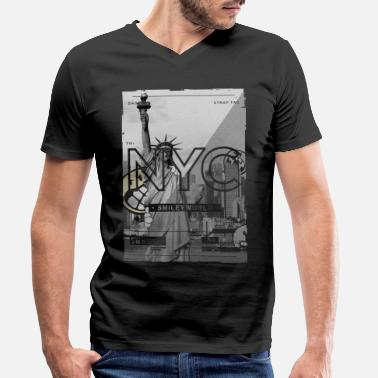 Nyc Smileyworld 'NYC 64 Aven Skyline' - T-shirt med V-ringning herr