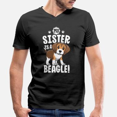Paw My Sister Is A Beagle Shirt Kids Beagle Shirt - Men's Organic V-Neck T-Shirt