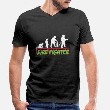 Delete Fire Firefighters Evolution Delete comrades fire engine - Men's Organic V-Neck T-Shirt by Stanley & Stella