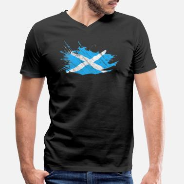 Scotland Scotland Scottish flag flag brush motif - Men's Organic V-Neck T-Shirt