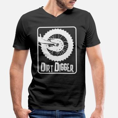 Wheelie Dirt Digger Dirt Bike Tires - Motocross - Men's Organic V-Neck T-Shirt