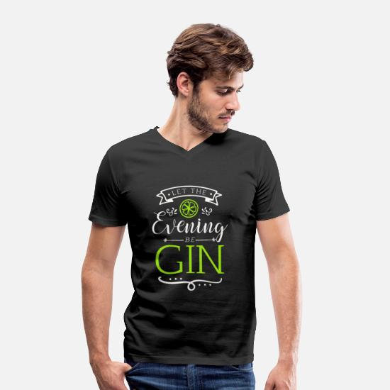 Evening T-Shirts - The evening starts with gin - Men's Organic V-Neck T-Shirt black