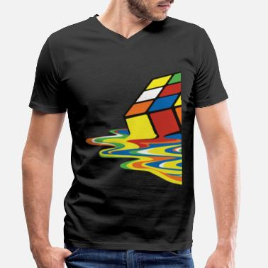 Abstract Rubik's Cube Melting Cube - Men's Organic V-Neck T-Shirt