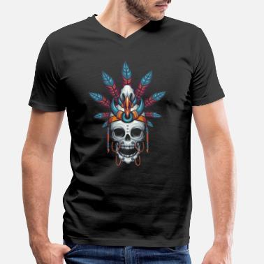 Indian Skull Indian skull - Men's Organic V-Neck T-Shirt by Stanley & Stella