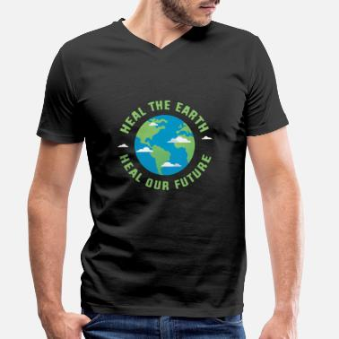 Healing Heal the earth heal our future - Men's Organic V-Neck T-Shirt
