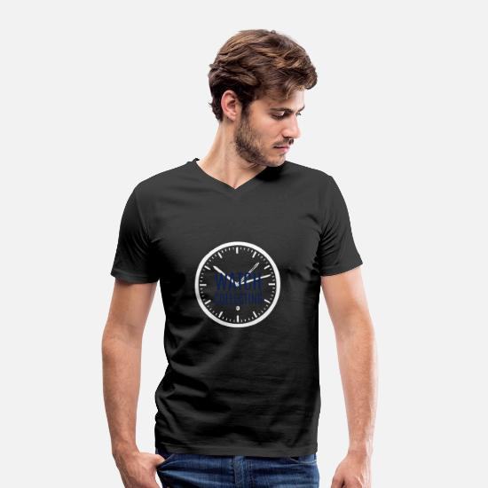 Birthday T-Shirts - Clock - Men's Organic V-Neck T-Shirt black