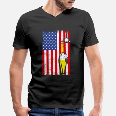 Patriotic Craft Beer American Flag USA 4th July Brewery Okto - Men's Organic V-Neck T-Shirt