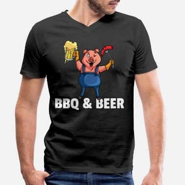 Birthday For Dad BBQ Barbeque Barbecue Grill Master Pig - Men's Organic V-Neck T-Shirt
