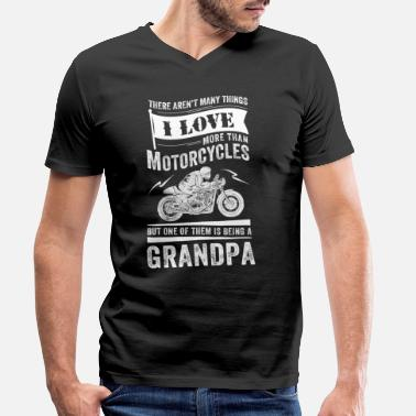 Grandad Motorcycle Grandpa Motorcycles - Men's Organic V-Neck T-Shirt by Stanley & Stella