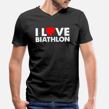 Due I Love Biathlon T-Shirt Gift Cross-Country - Maglietta con scollo a V uomo