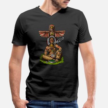 Native American Chief Smoking Weed - Men's Organic V-Neck T-Shirt